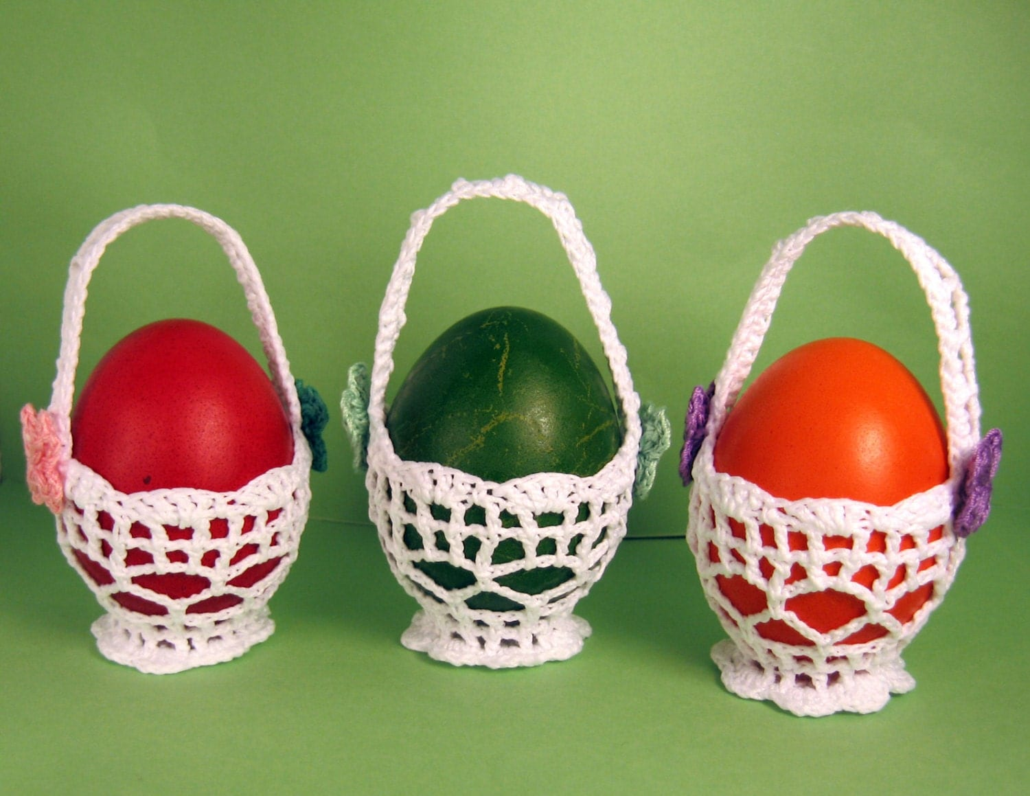 Crochet Easter Baskets Home Decoration Set Of 3 Ornaments