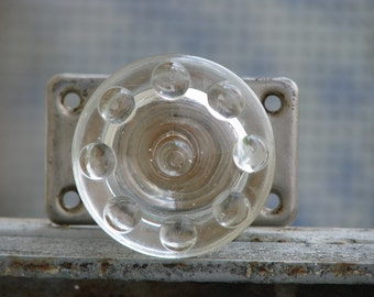 Vintage Not Used Door Handle - Door Knob - Glass and Metal - Furniture Supply