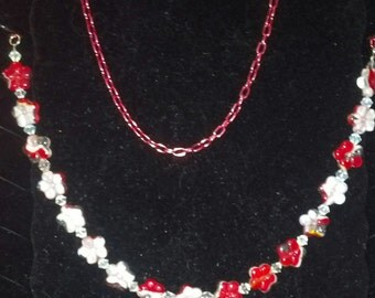 Red White Flower with Silver Necklace