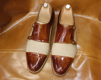 Handmade Special Design Luxury Brown Monk Strap Men Shoes