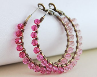 Crystal Hoops Pink Ombre Rose Shaded Swarovski Antiqued Brass Wire Wrapped Earrings