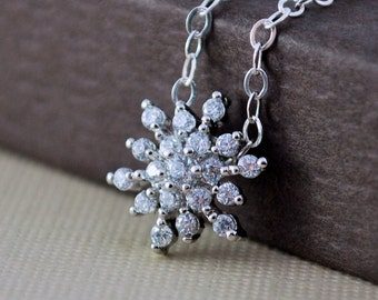 Crystal Snowflake Necklace, Sterling Silver Chain, Silver Plated Pendant, CZ Cubic Zirconia Jewelry