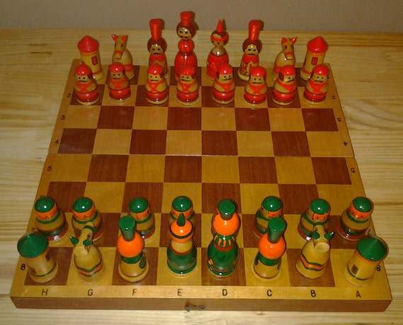Wooden Chess Set Made in Russia and Hand Painted