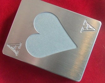 Stainless Steel, Poker Card Protector, Card Guard, Paper Weight, ACE OF HEARTS