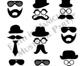 Mustache Party Nail Decal Stickers