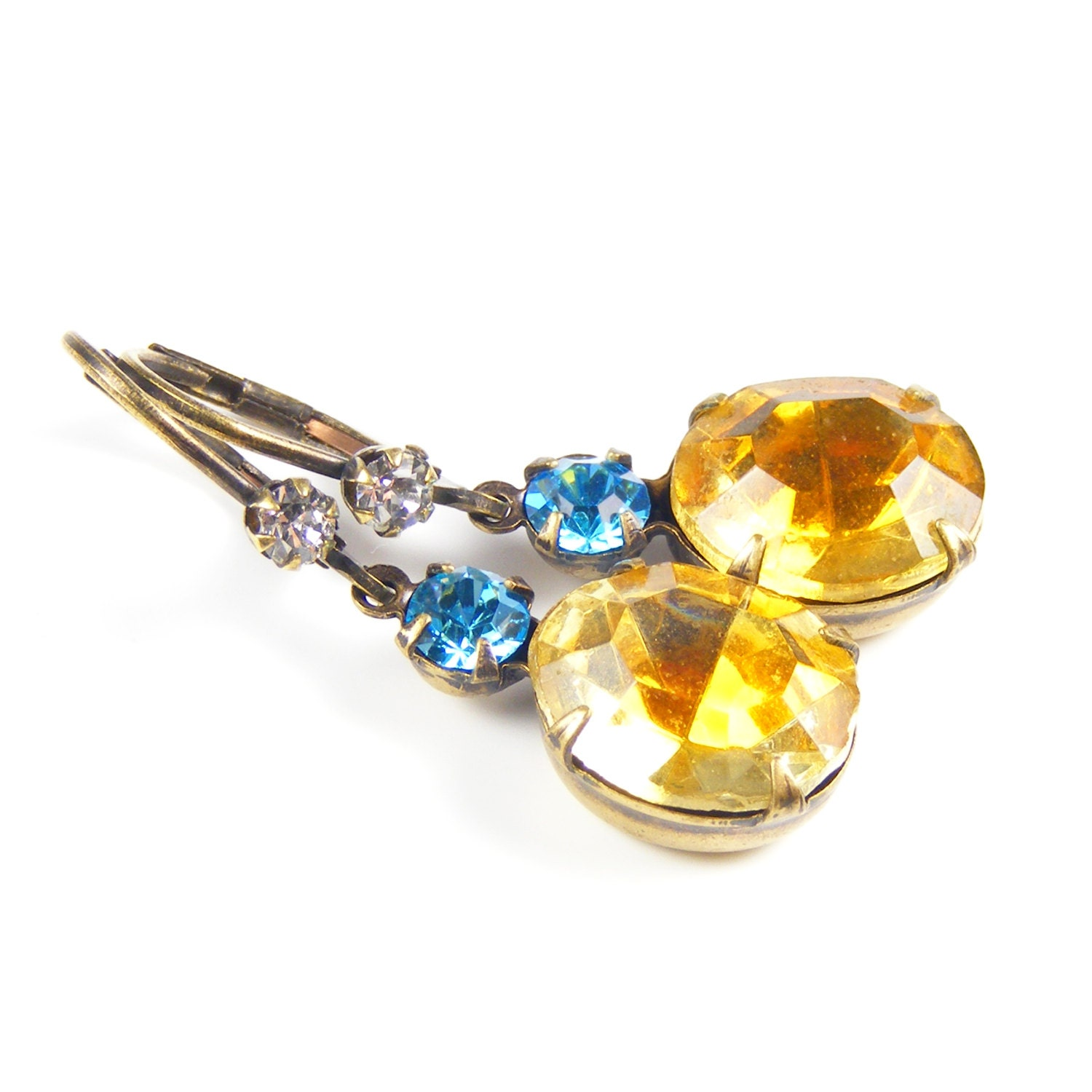 Topaz Aqua Crystal Earrings, Estate Style Drop Earrings, Genuine 1950s Vintage Rhinestones, Vintage Inspired Gatsby Jewellery