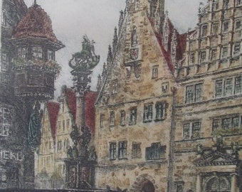 "LARGE 19"" German etching/aquatint by Ernst Geissendorfer"