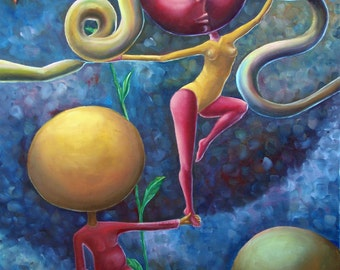 Love Triangle (original oil painting on canvas by Alex Lavrov) surrealism, expressionism, cubism