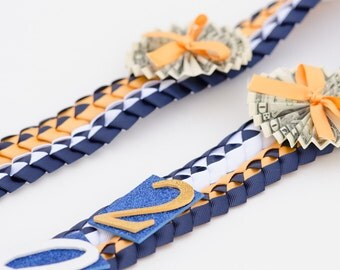 Graduation Lei, Ribbon Money Lei, Double Braided Stole, Double Braid Ribbon Lei, Graduation Necklace, Birthdays