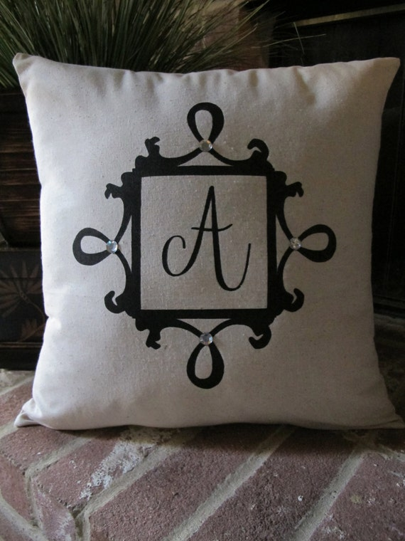 Items similar to custom monogram hand painted pillow cover for Hand painted pillows