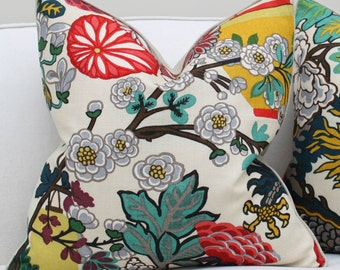 Schumacher Chiang Mai Dragon Flowers Pillow Cover in Alabaster