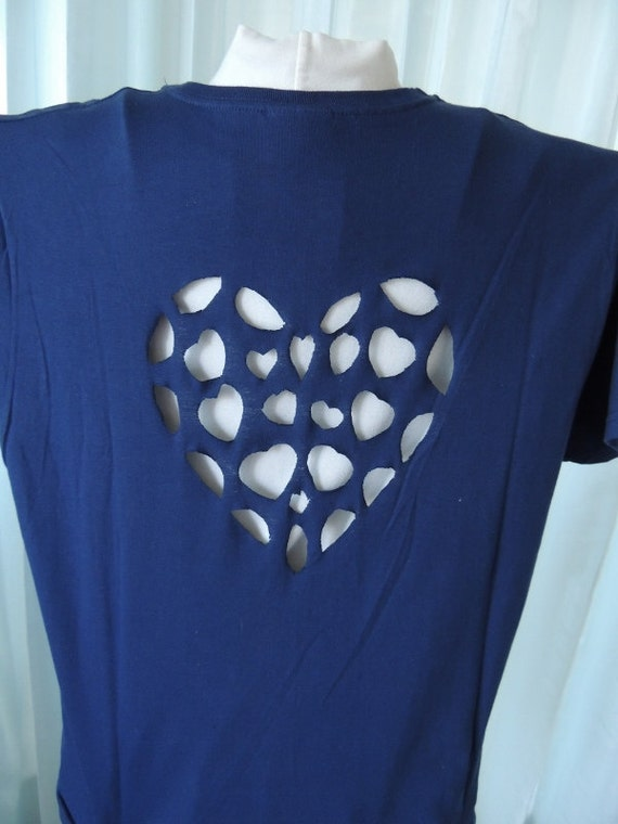 Items Similar To Navy Redesigned Tshirt Cut Out Back T