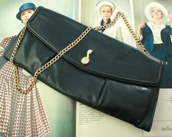 Vintage Blue Leaher Satchel 60s Handbag Purse