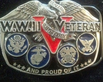 1980's Vintage Great American Buckle Co. WWII Veteran and Proud of it Victory BELT BUCKLE