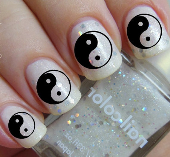 48 YIN YANG Nail Art MEGAPACK Yyc Clear And Black Waterslide