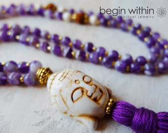 Amethyst 108 Mala Beads | Buddha Tassel Necklace | Yoga Necklace