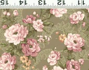 Clothworks Lily & Peony 862-24 green  Sold by the  yard