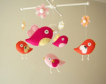 "Baby crib mobile, Bird mobile, girl mobile, felt mobile, ""Bird - orange pink"""