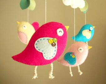 """Baby crib mobile, Bird mobile, felt mobile, nursery mobile, baby mobile """"Bird - pink"""""""