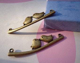 SALE--10 PCS 13X50mm Lovely Kiss Bird Charm Pendant --Antique Bronze