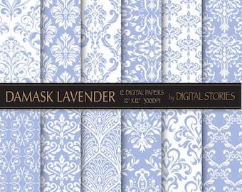 Damask Lavender Digital Scrapbook Paper Pack - Instant Download