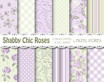 "Shabby Chic Digital Paper: ""SHABBY LILAC ROSES"" Floral background with roses for scrapbooking, invites, cards"
