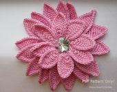 "CROCHET FLOWER, Flower Pattern, Crochet Floral Pattern, Crochet pattern, Flower ""Aster"" 3d, Hat Accessories, Baby, Headband, Fall flower"