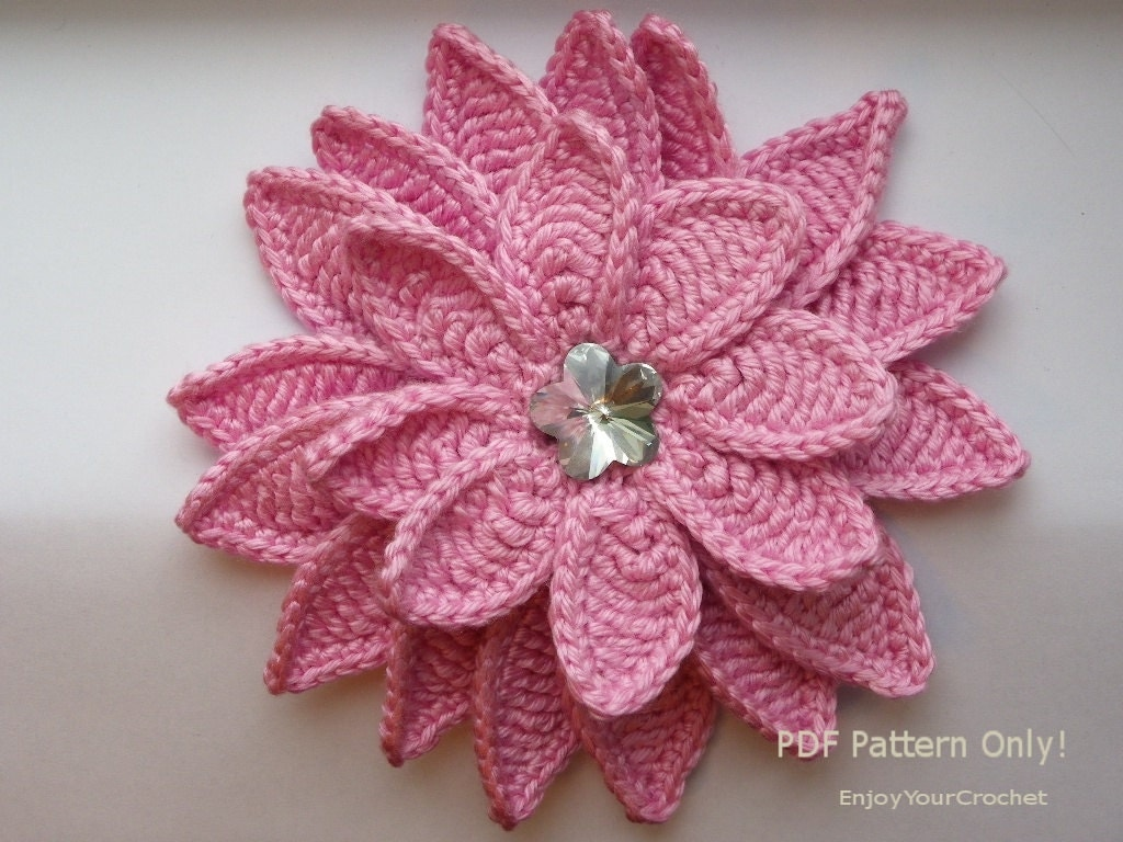 Crochet Hat Patterns Flowers : CROCHET FLOWER Flower Pattern Crochet Floral Pattern
