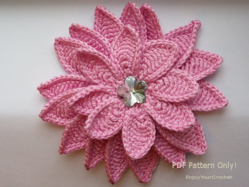 Pattern Crochet Hat With Flower : CROCHET FLOWER Flower Pattern Crochet Floral Pattern