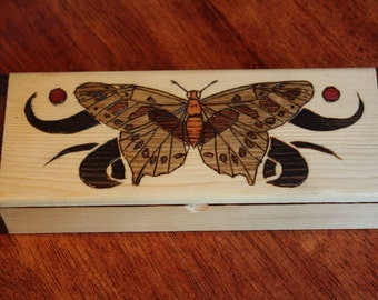 Butterfly Wood-burned Box