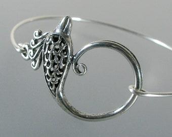 Phoenix Bangle Bracelet, Silver Bangle Bracelet, Phoenix Bracelet, Silver Bracelet, Bridesmaid Gift Ideas, Bridal Gift (107S.)