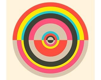 Around in Circles No. 4, Original Art Print, Target, Geometric, Abstract