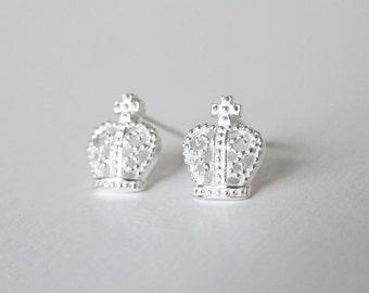 Sterling Silver Crown Ear Studs