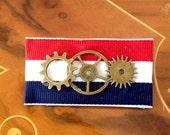 SALE! Red White & Blue Triple Gear Steampunk Airship Medal