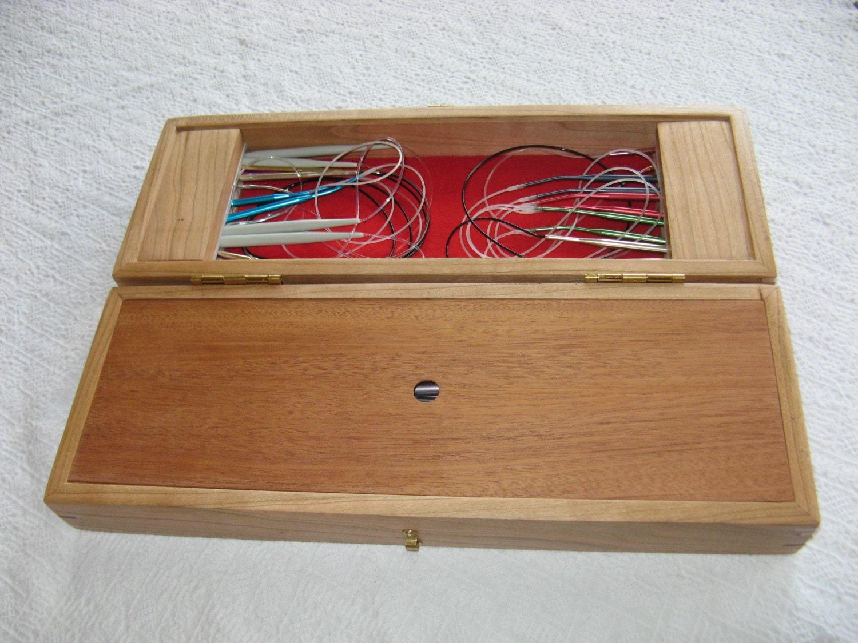 Knitting Needle Storage Box : Oversized wood knitting needle storage box for straight and