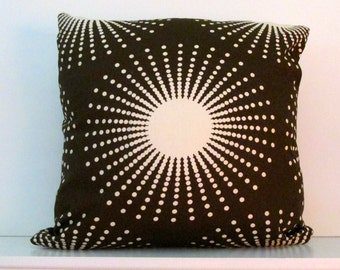 DECORATIVE PILLOW Brown and White sunburst print - Throw pillow  Designer fabric double sided invisible z