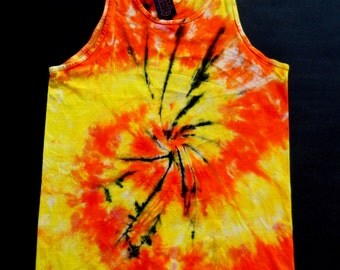 Orange Spiral Tie Dye Tank Top