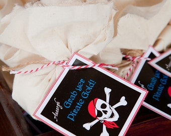 Pirate Themed Favour Tags / Thankyou Tags Square / Pirate Party - INSTANT DOWNLOAD