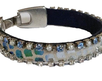 Iridescent Shades of Blue Leather Bracelet - Rhinestone Cup Chain Border