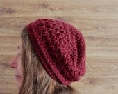 Oxblood Slouchy Beanie - Womens touque