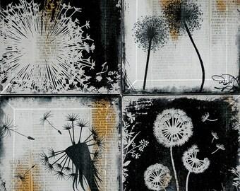 Dandelion Handmade Glass Coaster Set from Upcycled Dictionary page book art - WilD WorDz - Wishing Wordz