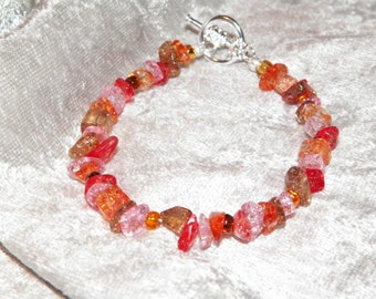 Orange Glass Chip Bracelet