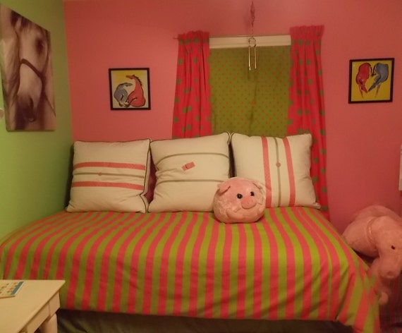 Items Similar To Hot Pink Amp Lime Green Striped Duvet