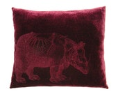 Laser Rasterized Durer's Rhino Burgundy Velvet Pillow