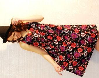 Summer Cotton  Dress / Floral Print Dress / Garden Party Beach Dress / Medium / Large