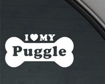 "I Love My PUGGLE Bone 6"" Vinyl Decal Widow Sticker for Car, Truck, Motorcycle, Laptop, Ipad, Window, Wall, ETC"