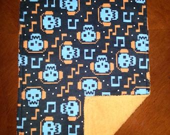 2 Skull  Burp Cloths for Boys.  Unique Baby Gift.