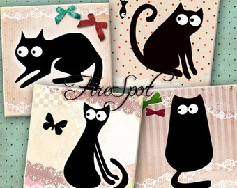 Vintage Black Cat  -Digital Collage Sheet  3.8 inches set of 4,Cartoon,Downloadable images Print Scrapbooking,Coasters