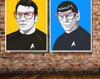 Star Trek James T Kirk OR Spock Pop Art Limited Edition Art Print