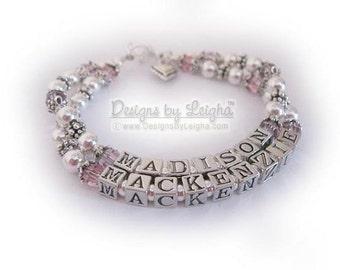 Name Bracelets for Grandma - charms optional - 2 names and 4 names shown